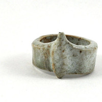 Unisex Ceramic Ring Stoneware Handmade Jewellery Speckled Cream Goth and Organic in Gift Pouch Gift for Him