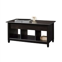Black Wood Finish Lift-Top Coffee Table with Bottom Storage Space