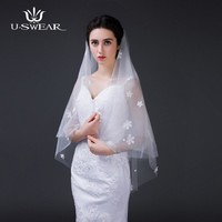 Romantic White Ivory Short Wedding Veils with Comb Bridal Veil veu de noiva longo classic Wedding Decoration Wedding Accessories