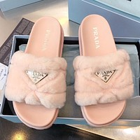 PRADA solid lamb hair platform sandals triangle logo ladies personalized slippers Shoes
