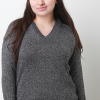 Metallic Knit V-Neck Long Sleeves Fitted Sweater Top