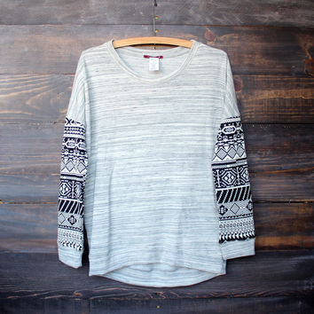 aztec sleeves grey marbled french terry pullover | final sale