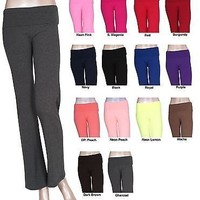 Comfy Basic Long Fitness Foldover soft Yoga Gym Sport Pant Slim Fit