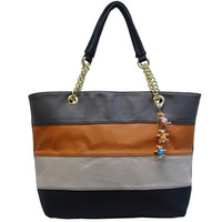 Blocked - Striped Double Handled Tote Bag