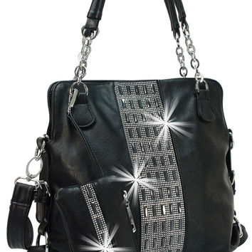* Gem Accented Tall Handbag