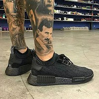 Adidas NMD R1 Primeknit Pitch Black S80489 Boost Sport Running Shoes Classic Casual Shoes Sneakers