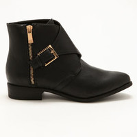 Black Buckle & Zipper Booties - LoveCulture