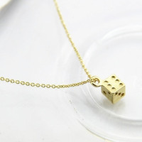 Necklace, dice charm necklace, mini dice pendant, gold filled, Christmas gift