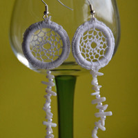 Earrings, White Dreamcatcher Earrings with Beads and Coral Chips, Dangle Earrings