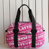 """"""" Pink """" Printed High Quality Durable Victoria's Secret Like Sport Exercise Carry on Yoga Gym Travel Luggage Bag  _ 13499"""
