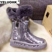 Brand New Bling Winter Shoes Women Boots Warm Shoes Woman Winter Platform Casual Ankle Boots For Women Shoes With Fur Snow Boots