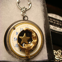 Unique Victorian Style Woman on Moon with Star Steampunk Style Locket Necklace in Antique Silver (1866)
