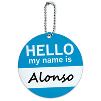 Alonso Hello My Name Is Round ID Card Luggage Tag