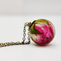 Real Rose Resin Sphere Pendant Necklace, Pressed Flower Resin Jewelry