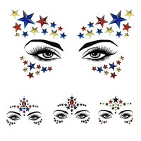 1 PC Personality Fashion Disposable Temporary Face Tattoo Stickers Easy To Operate Face Star Shape Rhinestone Jewel Makeup Set