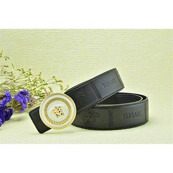 Versace Collection Italy Men's Coffee Leather Gold Buckle Adjustable Versace Head Embo