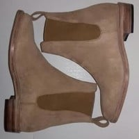 Handmade mens style beige Chelsea suede leather boot, Men ankle boots