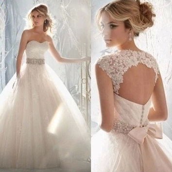 Sexy White Princess Backless Lace Wedding Dresses Long Bridal Gowns(2 kinds of tees in one)