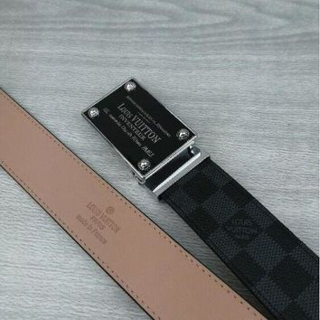 DCCK Mens Official Louis Vuitton Brown Belt and Black and Gold Buckle