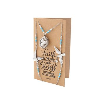 Vianey Bird Faith Face Mask Lanyard Necklace with Inspirational Greeting Card