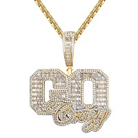 Emerald Cut Gold Tone Custom Go Crazy Pendant