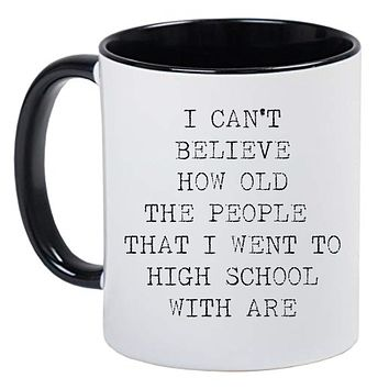 Funny Mother's Day Black and White Coffee Mug - Funny Mug on aging in an old Typewriter font style
