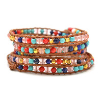 """HOLIDAY CLEARANCE SALE! The Gypsy Love - 34"""" Multi-Color Beaded Brown Leather Wrap Bracelet"""
