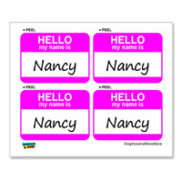 Nancy Hello My Name Is - Sheet of 4 Stickers