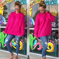HOT PINK pullover sweater