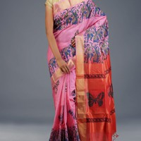 UNM17463-Pink-Red Pure Handloom Bengal Tussar Silk Saree