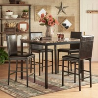 Chelsea Lane Declan 5-Piece Metal Counter Height Dining Set - Walmart.com