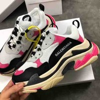 Balenciaga New fashion sports shoes women rose red shoes