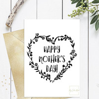 Funny mothers day card for wife friend sister, Printable mothers day card black and white, Floral wreath mothers day card to print, Download