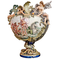 19th Century Italian Majolica Urn with Neptune Riding a Shell Pulled by Horses