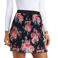 Pleated Floral Chiffon Mini Skirt by Charlotte Russe - Navy Blue Cmb