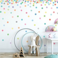 Wall Decals 121 Mini 2 inch Sorbet Pastel Confetti Polka Dot Fabric Wall Stickers Removable, Reusable, Repositionable