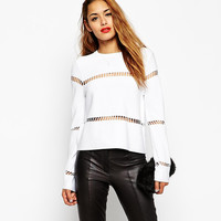 White Long Sleeve Cut-out T-shirt with Back Zipper