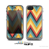 The Orange & Blue Chevron Textured Skin for the Apple iPhone 5c LifeProof Case