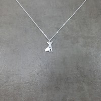 Chihuahua Dog Sitting Silver Necklace