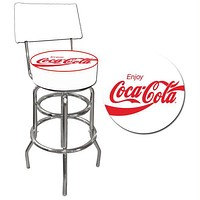 Enjoy Coke White Stool with Back