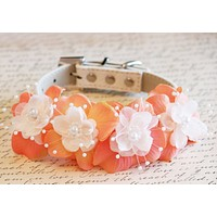 Peach Floral Dog Collar, Pet wedding accessory, Pearl and Rhinestone, Dog Lovers , Wedding dog collar