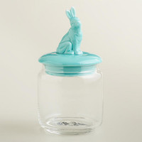 Aqua Easter Bunny Storage Jar