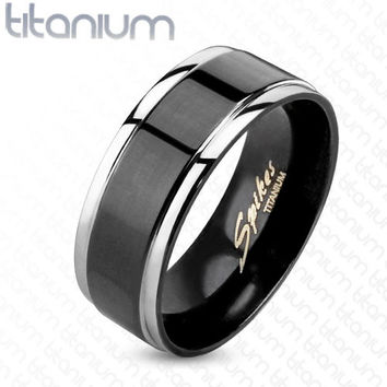 Step Edges w/ Black IP Center Two Tone Men's Ring Solid Titanium