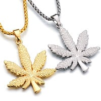 Gold Hemp Pendants Necklaces Women Men Rhinestone Hip Hop Jewelry Gifts Weed Herb Chains