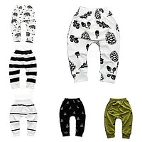 Print Pattern Cotton Baby Trousers Babys Boys Girls PP Pants For Sports Baby Harem Pants Kids For born Girl Boy Clothing