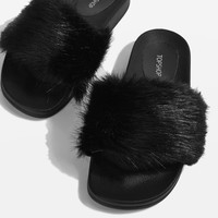 HOOT Faux Fur Sliders | Topshop