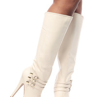 Stone Faux Leather Buckle Up Knee High Platform Boots