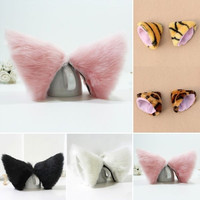 Cosplay Party's Cat Fox Long Fur Ears Anime Neko Costume Hair Clip = 1929786756