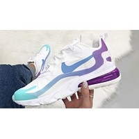 Nike blue and purple Air Max 270 React sneakers shoes