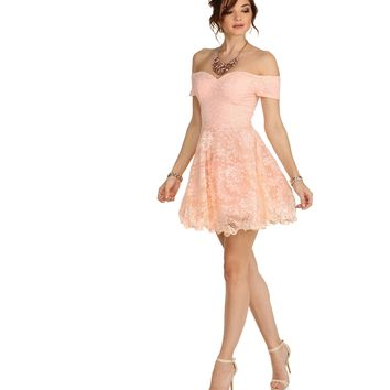 Pink Floral Lace Short Dress